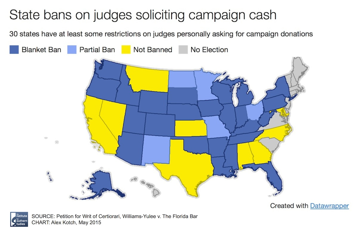 Today 39 States Hold Some Kind Of Election For Judges Of Those 25 States Including Florida Place Broad Limits On Personal Solicitation Of Campaign