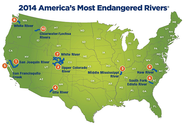 endangered_rivers_2014_map San Joaquin River On Us Map on golden gate bridge on us map, truckee river on us map, monterey on us map, oakland on us map, missouri river on us map, yosemite national park on us map, pasadena on us map, stockton on us map, columbia on us map, salmon river on us map, mount shasta on us map, cupertino on us map, santa cruz on us map, delta on us map, clearwater river on us map, trinity river on us map, south coast on us map, tennessee river on us map, canadian river on us map, santee river on us map,