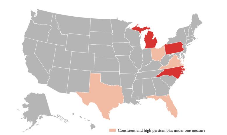Brennan map of partisan bias in Congress