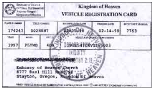 Photo Of Kingdom Heaven Vehicle Registration Card From Adl S Website