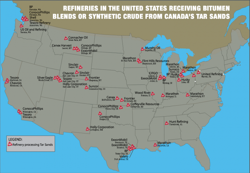 Institute Index Dirty Tar Sands Oil Flows To Souths Refineries - Map-of-us-oil-refineries