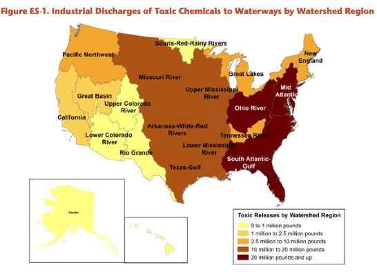 Map 31 Texas River Basins.Southern Waters Imperiled By Toxic Pollution Facing South